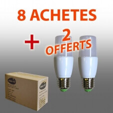 Pack de 10 LED Tube E27 7W 3000°K