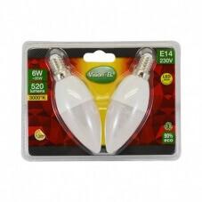 Ampoule LED E14 Flamme 6W 3000°K Blister x 2